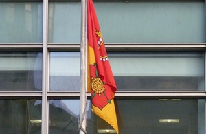 Hampshire flag flying outside Eland House