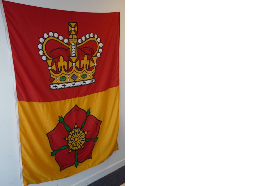 Hampshire flag hanging on a wall