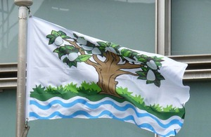 Worcestershire flag flying outside Eland House