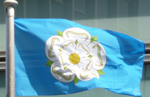 Yorkshire flag flying outside Eland House