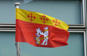 Warwickshire flag flying outside Eland House