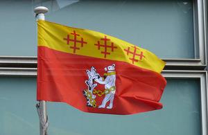 Warwickshire flag flying outside Eland House