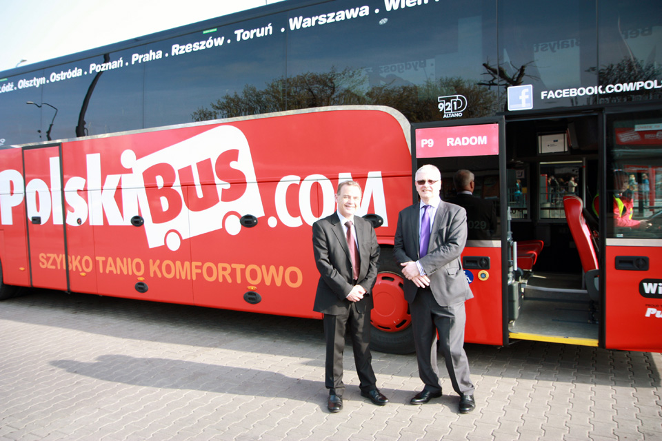 Ambassador Robin Barnett with Barry Pybis (CEO, Polski Bus) before the departure for Radom