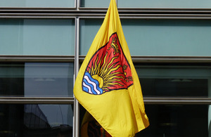 Suffolk flag flying outside Eland House