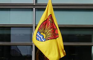 Suffolk flag flying outside Eland House