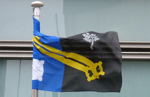 Surrey flag flying outside Eland House