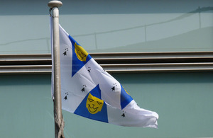 Shropshire flag flying outside Eland House