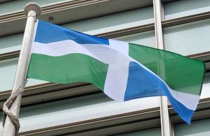Oxfordshire flag flying outside Eland House