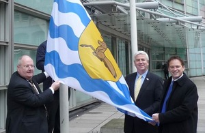 Raising the flag of Hertfordshire