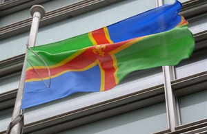 Lincolnshire flag flying outside Eland House