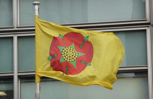 Lancashire flag flying outside Eland House