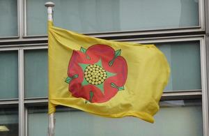 Lancashire flag flying outside Eland House