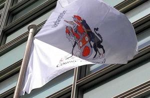 Northamptonshire flag flying outside Eland House