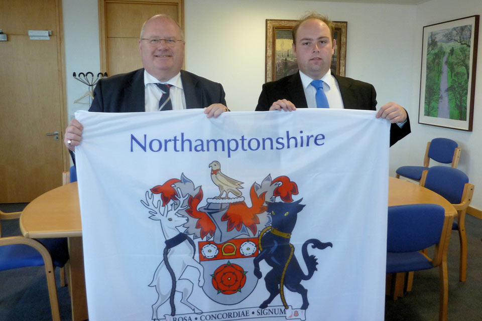Presenting the Northamptonshire flag to the Secretary of State