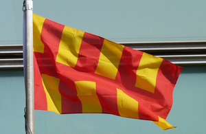 The Northumberland flag flying outside Eland House