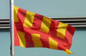 The Northumberland flag flying outside Eland House