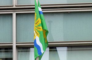 The Nottinghamshire flag flying outside Eland House