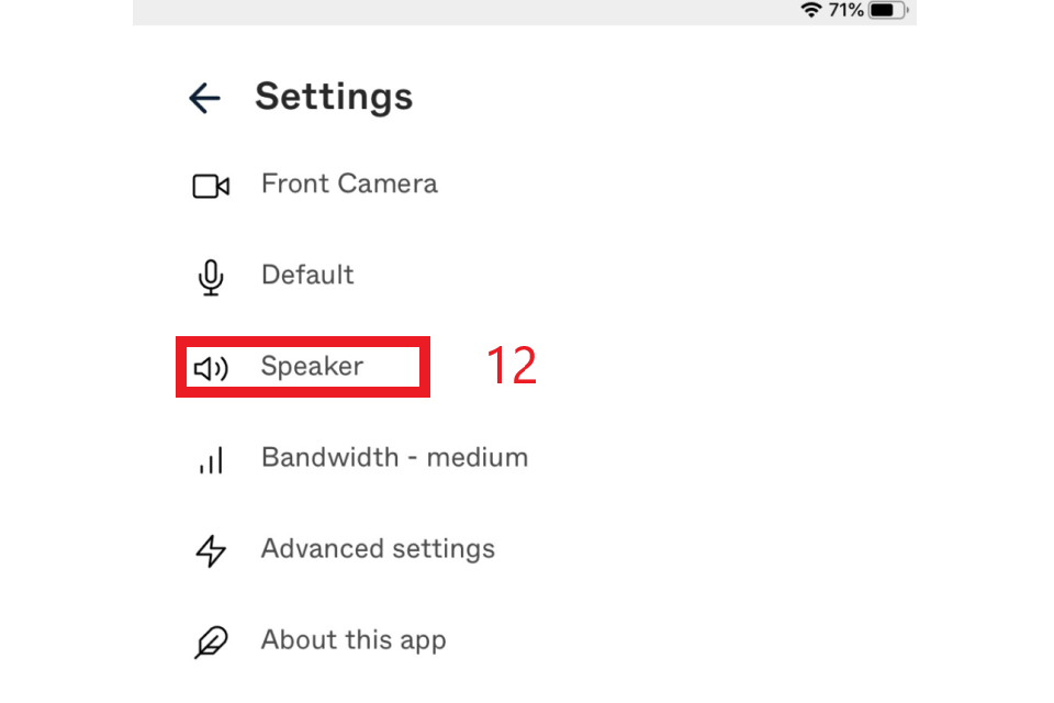 Audio settings - Speaker option highlighted in red