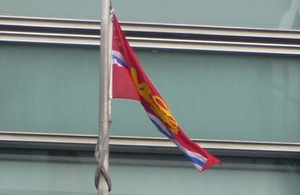 The Herefordshire flag flying outside Eland House