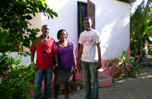 Handing over a refurbished home in Leogane, Haiti. Picture: Brenda Coughlan/DFID