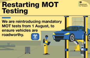 Image of MOT notification stating restarting testing in August 2020.