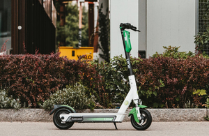 A parked e-scooter.