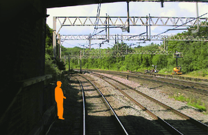Photograph of forward facing CCTV image showing position of track worker within an area of limited clearance (courtesy of Avanti West Coast)