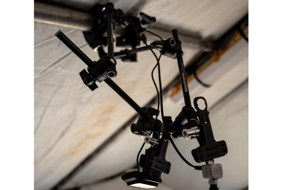 2 specialist camera mounted on a roof.