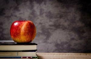 apple sitting on books