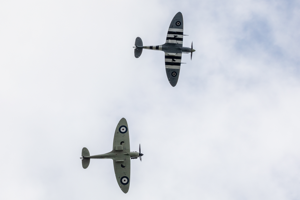 Two Second World War-era Spitfires from the Battle of Britain Memorial Flight fly over Dame Vera Lynn's funeral