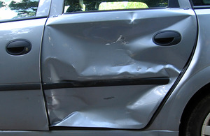 Image of car which has been damaged in an accident