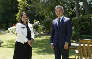 The Home Secretary Priti Patel with French Interior Minister Gérald Darmanin