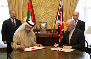 Foreign Secretary William Hague and Foreign Office Minister Alistair Burt with His Highness Sheikh Abdullah bin Zayed Al Nahyan, Minister of Foreign Affairs, United Arab Emirates and His Excellency Dr Anwar Mohammad Gargash, Minister of State for Foreign