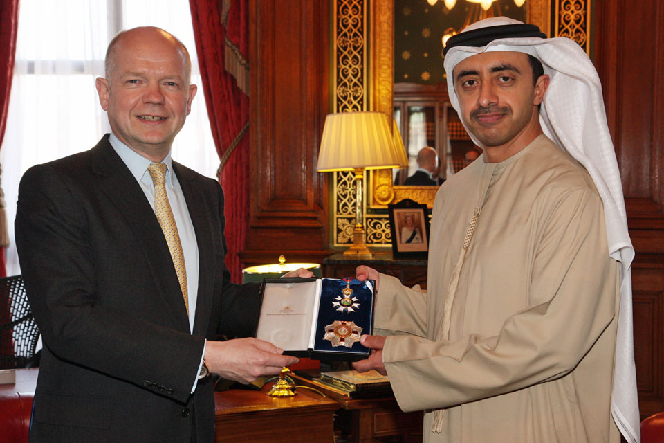 Foreign Secretary William Hague presented an honorary KCMG to His Highness Sheikh Abdullah bin Zayed Al Nahyan, Minister of Foreign Affairs, United Arab Emirates in London, 1 May 2013.