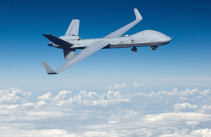 Image depicts a rendering of a Protector aircraft flying in a blue sky.