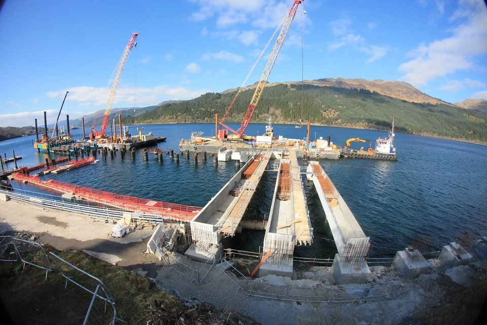 Construction work at the Glen Mallan Jetty in Scotland.