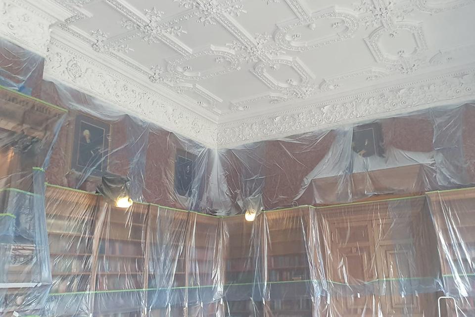 Repair works at Thoresby Hall.