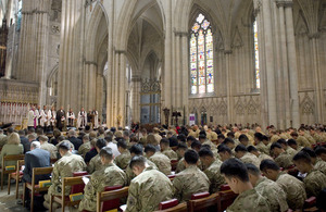 The service of remembrance and thanksgiving at York Minster for 4th Mechanized Brigade [Picture: Corporal Mike O'Neill RLC, Crown copyright]