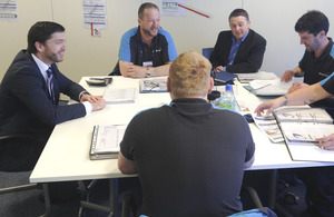 Wales Office Minister, Stephen Crabb MP visiting the British Gas Training Academy in Tredegar.