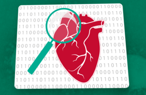 A magnifying glass looks at an anatomical heart, a coronavirus, and a dataset, representing CPRD's new synthetic datasets