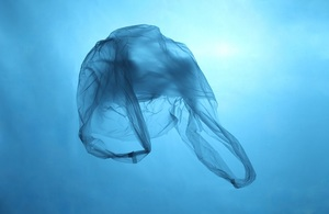 A plastic bag floating under water.