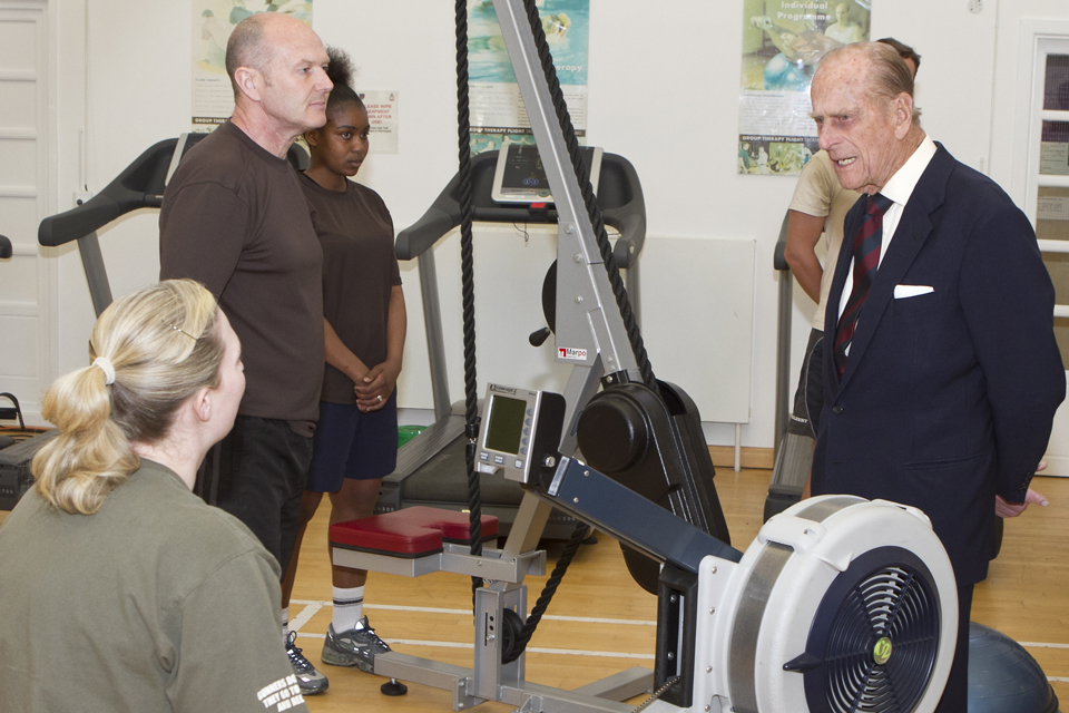 His Royal Highness The Duke of Edinburgh meeting staff and patients