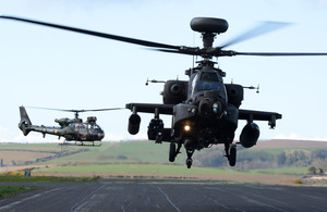 A French Army Gazelle and an Apache from the Army Air Corps [Picture: Corporal Obi Igbo, Crown copyright]