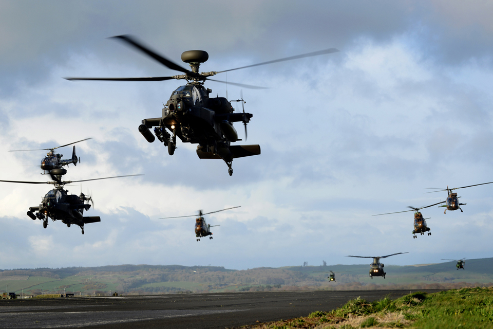 Apache and Gazelle helicopters