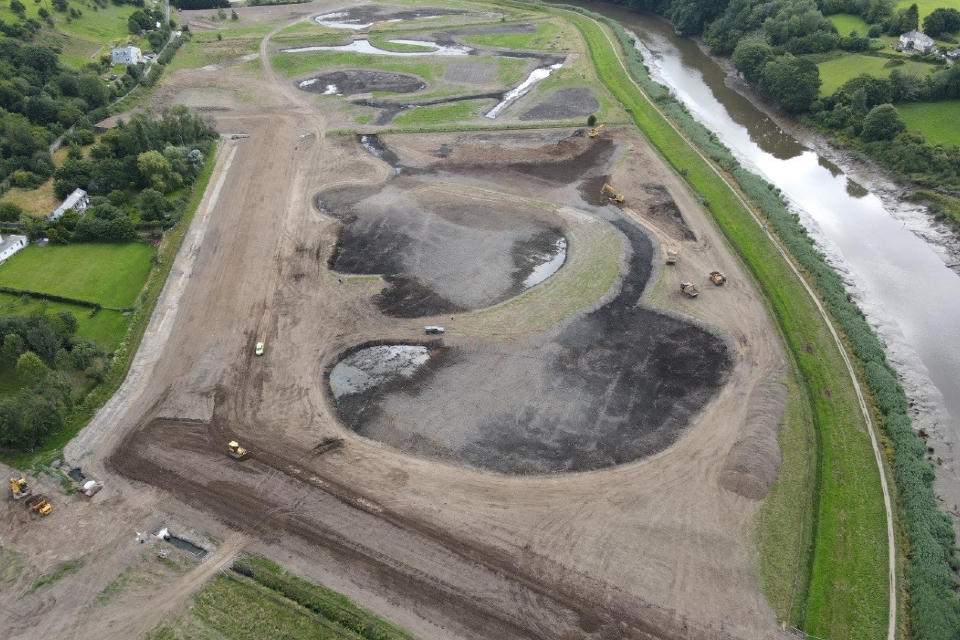 An aerial view of the construction site at Calstock