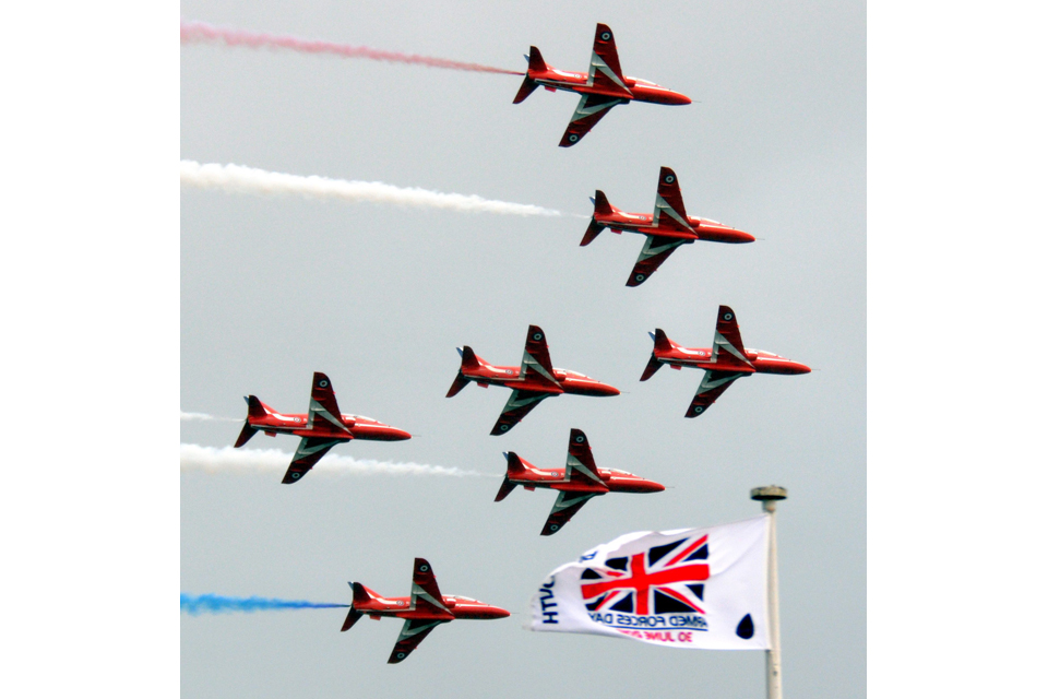 The Red Arrows at the Armed Forces Day national event in Plymouth in 2012