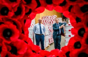 Alister Jack and Major Charlie Pelling at the Poppyscotland factory