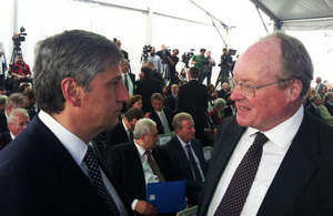 Sir Andrew Burns, UK Envoy for Post-Holocaust Issues, meeting Austrian Foreign Minister Michael Spindelegger at the Mauthausen Memorial