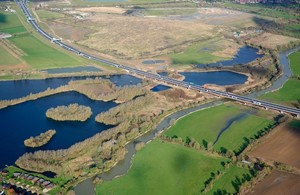 Image showing an aerial view of completed A14 Cambridge to Huntingdon