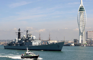 HMS Edinburgh passes Spinnaker Tower as she leaves Portsmouth Naval Base [Picture: Leading Airman (Photographer) Jay Allen, Crown copyright]